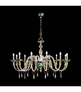Chandelier classique CONDULMER Or 24 Carats 12 ampoules