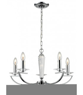Suspension chromée en cristal Artemis 5 Ampoules