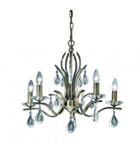 Suspension en bronze en cristal Willow 5 Ampoules
