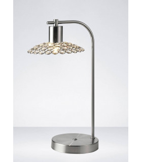Lampe de Table Ellen 1 Ampoule nickel satiné/cristal