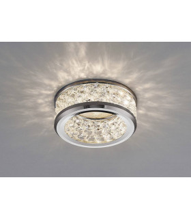 Downlight Dante GU10 avec 3 Levels Of cristal Beads chrome poli/transparent