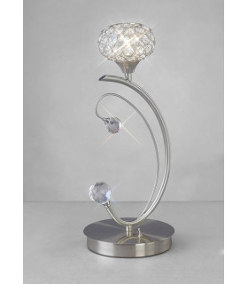 Lampe de Table Cara 1 Ampoule nickel satiné/cristal