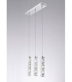 Suspension Galaxy 3 Drop LED 6000K 3 X 3W chrome poli/cristal