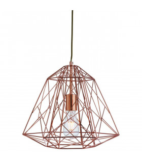 Suspension 1 ampoule Geometric Cage, en cuivre
