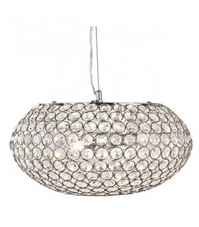 Suspension 35 cm Chantilly, en chrome et cristal